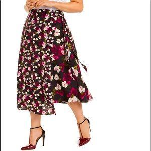 PLUS Calvin Klein Purple Floral Midi Wrap Skirt